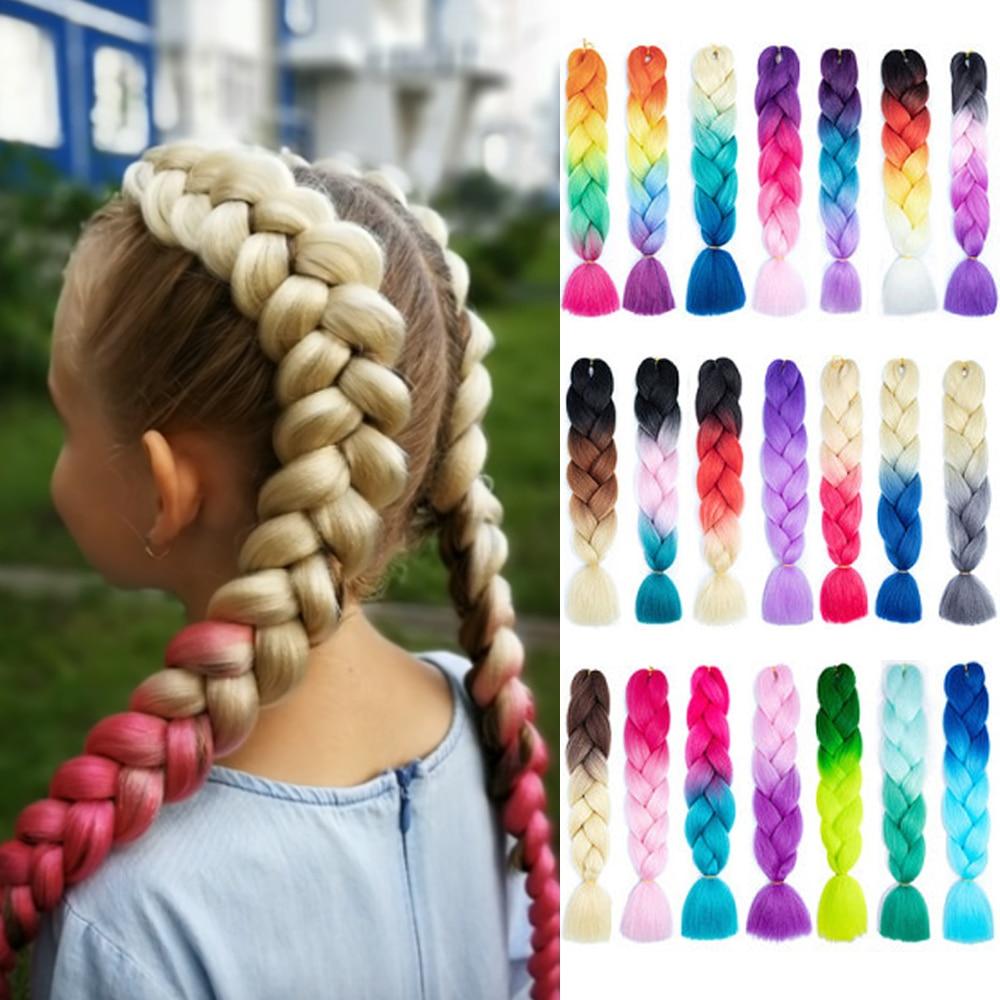 Miss Rola 100 г 24 дюйма один цвет Омбре светящиеся для волос Оптовая продажа синтетических волос для наращивания твист Джамбо плетеные волосы ...