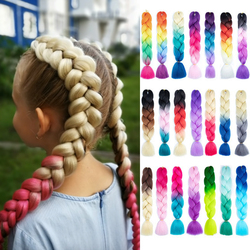 Miss Rola 100G 24Inch Single Ombre Color Glowing For Hair Wholesale Synthetic Hair Extension Twist Jumbo Braiding Hair