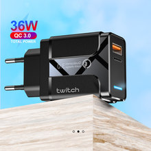 Carregador twitch rápido 4.0 3.0 usb, tipo qc, para iphone 11, pro, max, samsung, huawei carregador rápido pd c pd