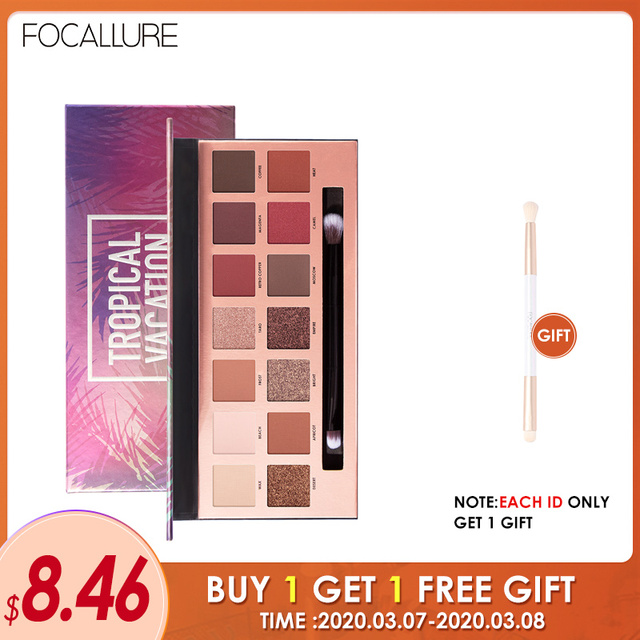 FOCALLURE 14 Colors Eye Shadow Palette Matte Glitter High Pigment Hot in ins Palette Eyeshadow with Brush Eyes Makeup Eyeshadow 1