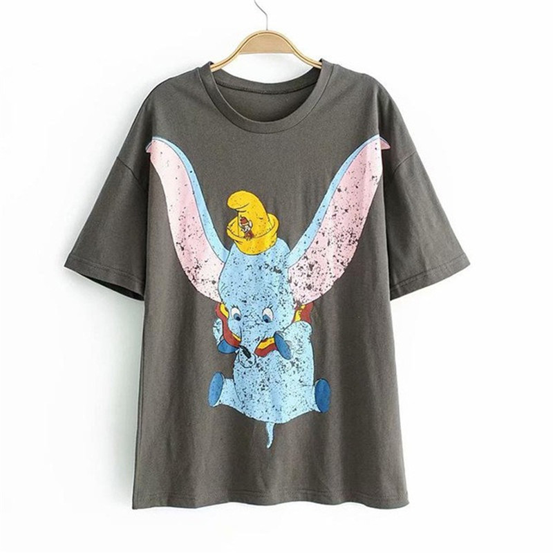Summer Women's T-shirt Cartoon Dumbo Gray O-neck Short Sleeve Streetwear Tops For Female Funny Dumbo Printed Pure Gray Tops