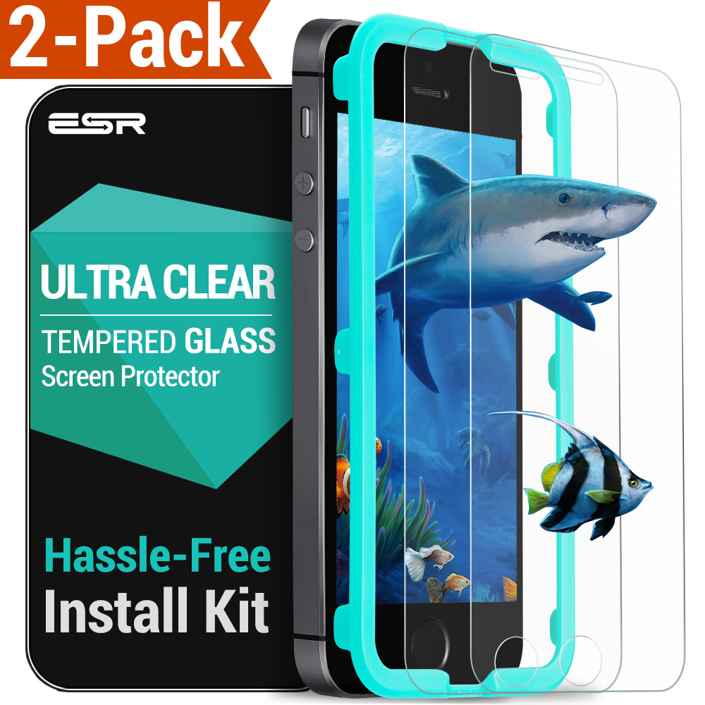 ESR 2PCS Screen Protectors For IPhone 5S/SE Strong Front  Tempered Glass Screen Protector With Free Applicator IPhone SE Film