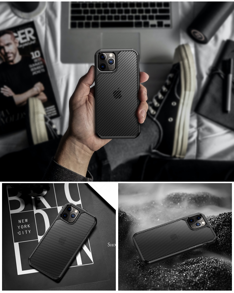 Clear Crystal Carbon Fiber Texture Durable Hybrid Soft TPU Bumper + Hard PC Back Cover Case for iPhone 12 Pro Max  1