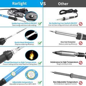 Image 4 - Kit de pistola para soldar de temperatura ajustable, 220V, 60W, herramientas de soldadura, calentador de cerámica, puntas de soldadura, bomba de desoldar