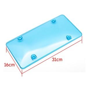 Image 3 - License Plate Frame Black Carbon Fiber / Transparent Number Plate TAG Protector Cover for Front Rear Bracket Car Accessories