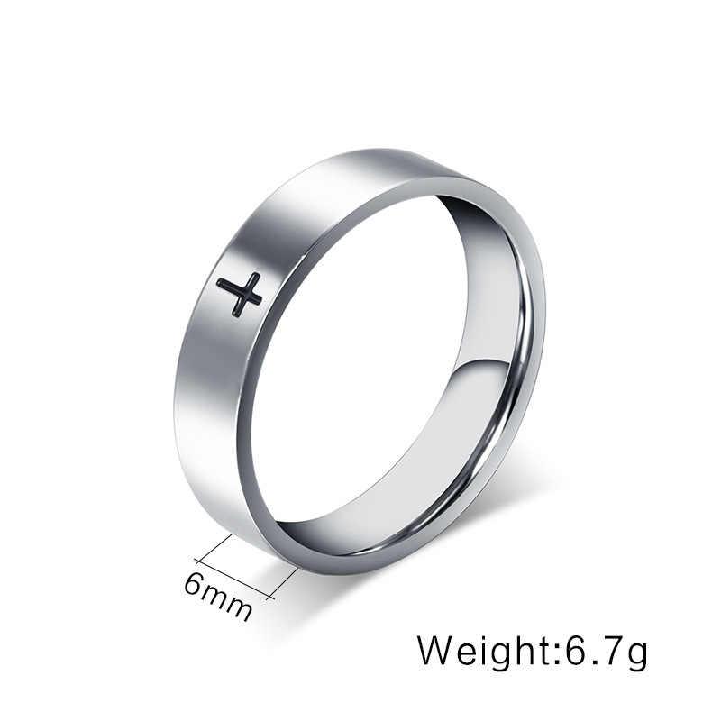 Qianbei Unisex สแตนเลสสตีลชุบคริสเตียนแหวนสีดำ cross Letter พระคัมภีร์เงินงานแต่งงานแหวนผู้ชายผู้หญิง