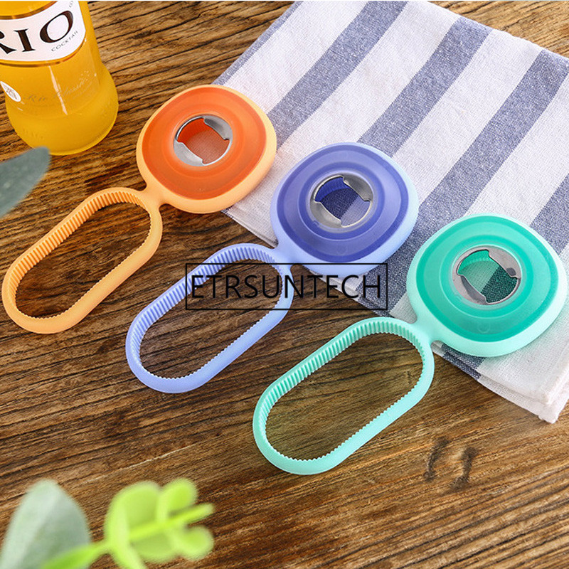100pcs Fashion Silicone Beer Bottle Opener Screw Cap Jar Bottle Wrench 3 In 1 Creative Multifunction Can Opener Kitchen Tools