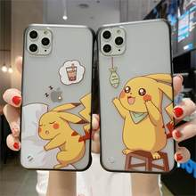 Cute cartoon Pokemon pikachu INS hot Phone Case Cover For iPhone 11 Pro XS X Max Xr 8 7 6 s Plus Cartoon TPU Back transparent(China)