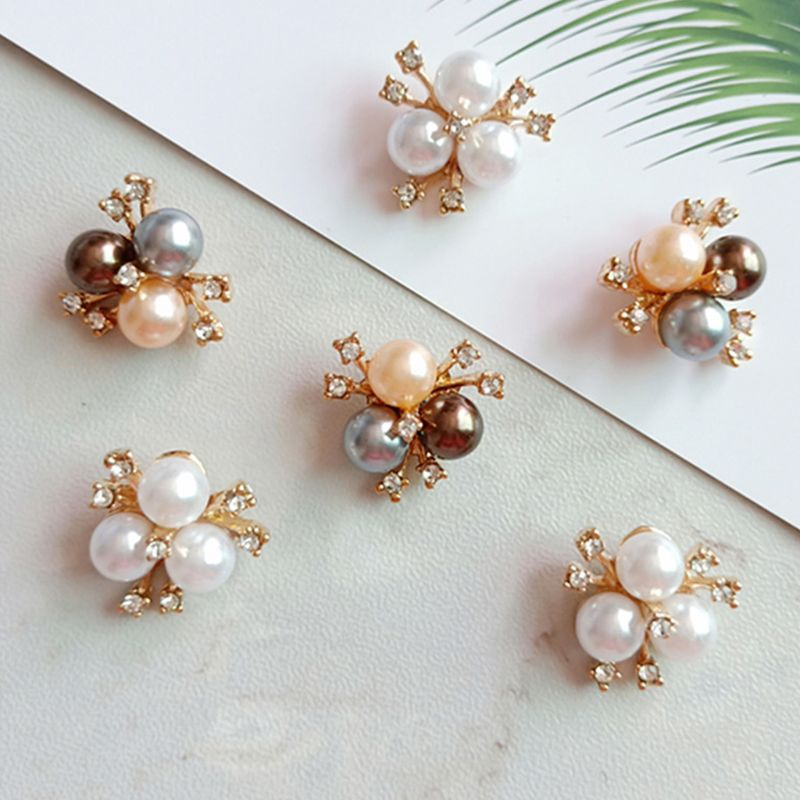 10Pcs Pearl Rhinestone Flower Embellishments Brooch Flatback Buttons DIY Crafts M6CD