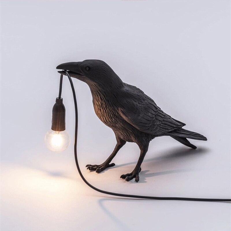 Led corvo pássaro lâmpada luz da noite