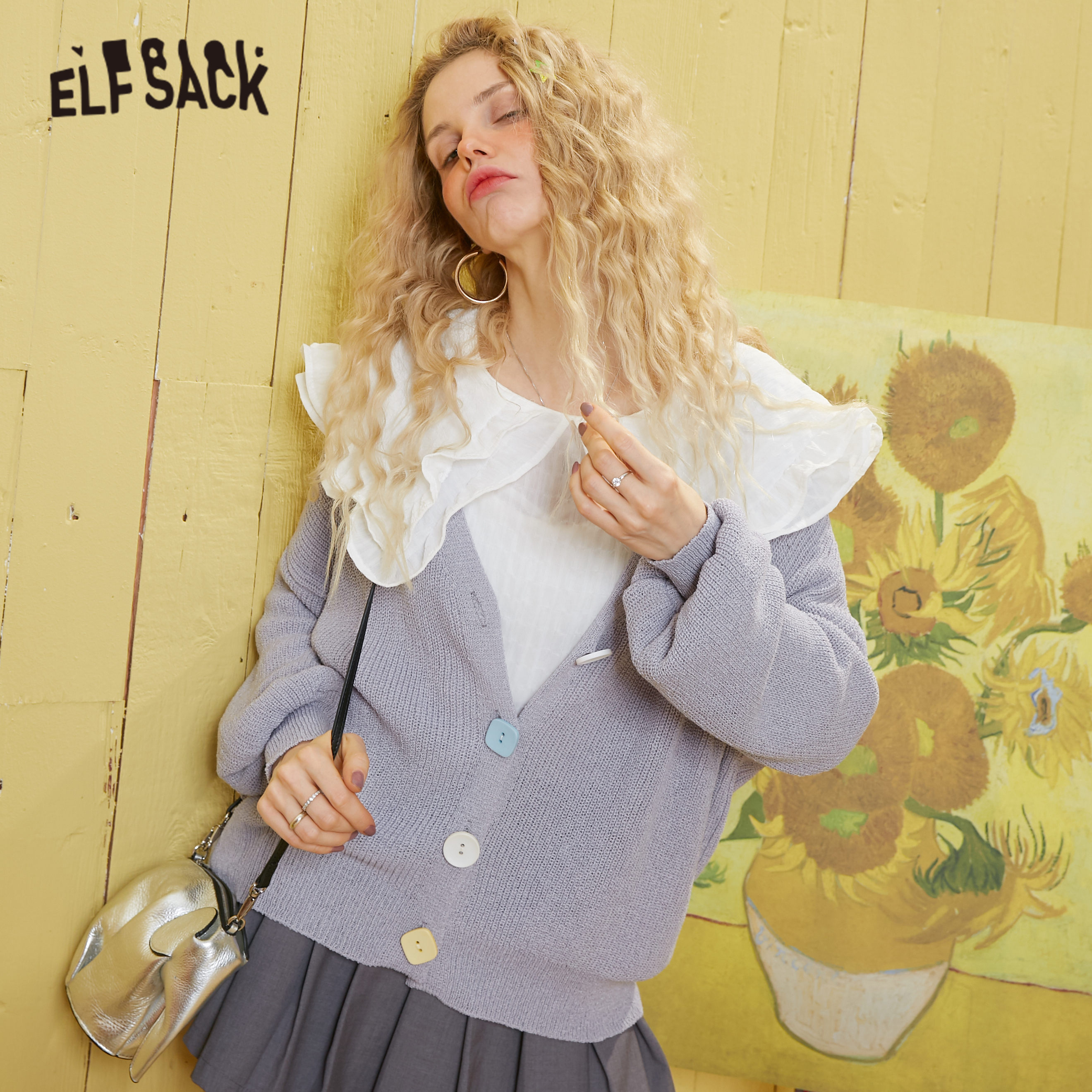 ELFSACK Multicolor Solid Minimalist Loose Casual Cardigan Women Sweaters 2020 Spring Pure Single Button Lantern Sleeve Girly Top