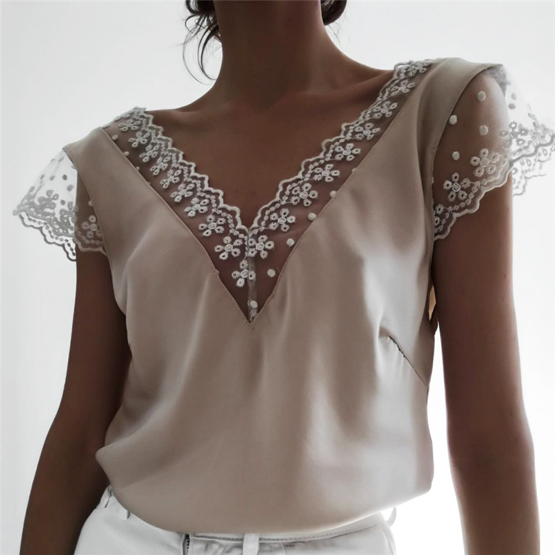 2019 Fashion Women Summer Lace Top Sleeveless Casual Loose Tank Elegant V Neck Debardeur Femme Ladies Classic Tee Streetwear