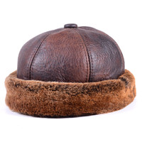 Men's Women's Real Fur leather Round cap Bonnet Zucchetto Toque Beanie New Cap Army/Navy Caps/Hats