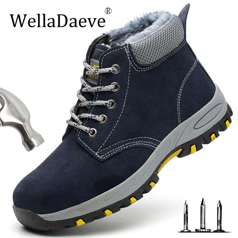 Winter Warm Men's With Velvet Safety Shoes Outdoor Construction Sneaker High Steel Toe Cap Protective Puncture Proof Work Boots