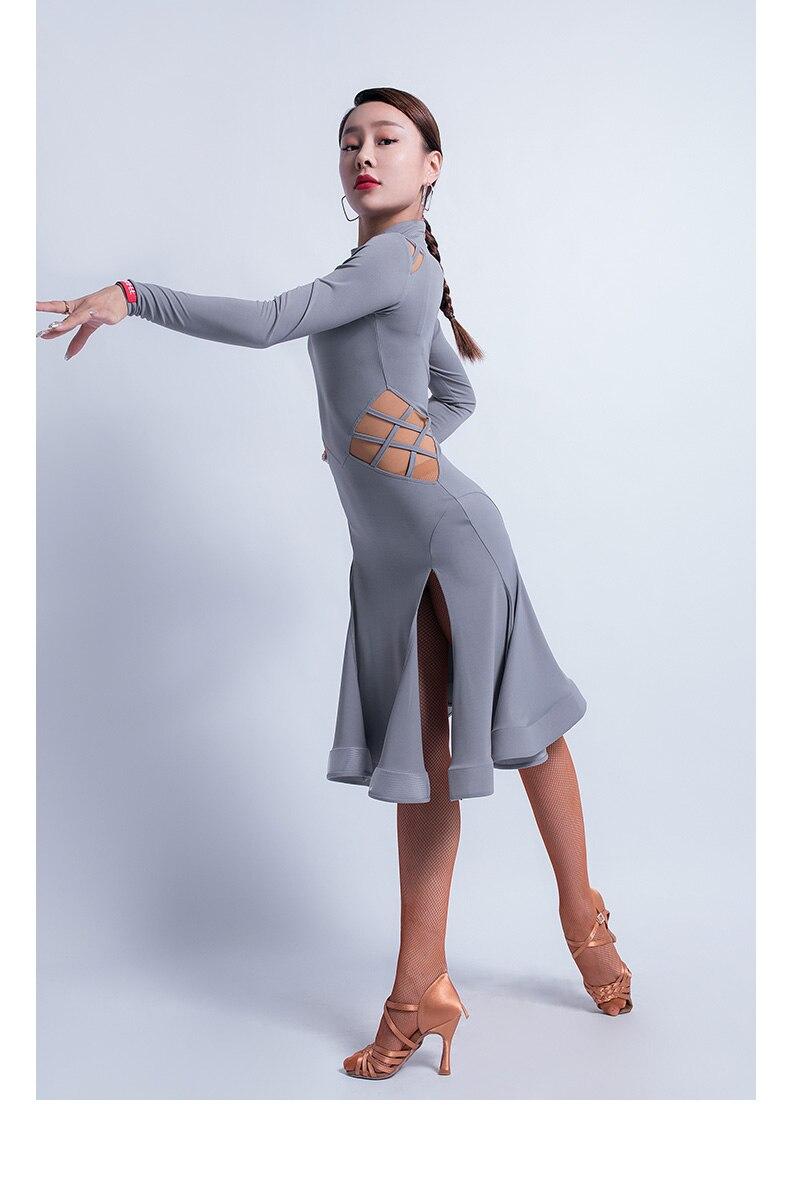 Тонкое Платье для латинских танцев, женское платье для танго, самбы, ча, ча, румбы, сальсы, бальных тренировок, женская одежда с длинным рукавом, одежда для выступлений DC3044
