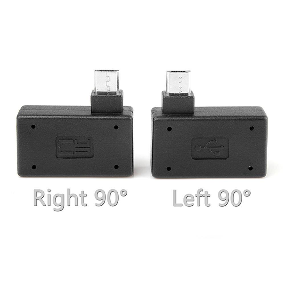 Adaptador micro usb otg 90 graus, para vara de fogo tv snes mini clássico nes mini com fonte de alimentação, esquerda e direita ângulo angular