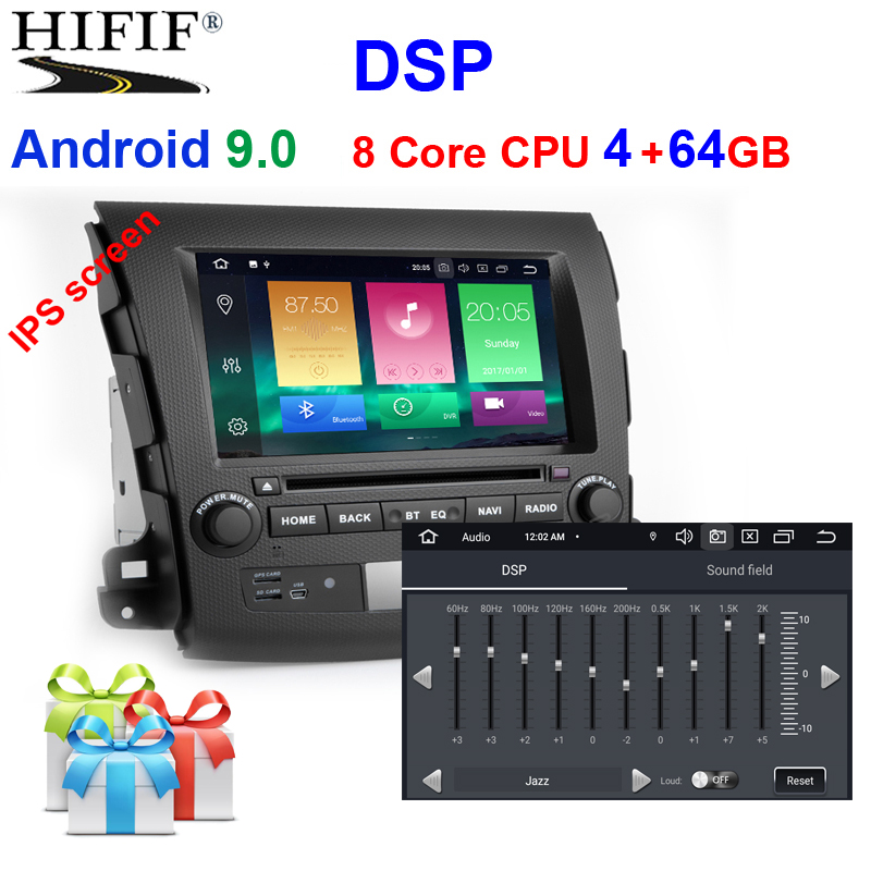 IPS DSP Android 9.0 4G RAM <font><b>2</b></font> <font><b>DIN</b></font> Car GPS For <font><b>Mitsubishi</b></font> <font><b>Outlander</b></font> DVD PLAYER stereo RADIO receiver navigation tape recorder image