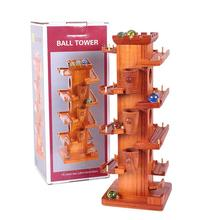 Funny Marble Ball Run Wooden Tower Construction Track Game Educational Kids Toy Party Parent-Child Interactive Game Toys
