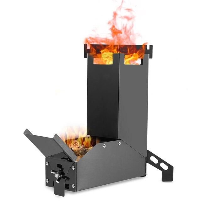 Lixada موقد الخشب خفيفة الوزن للطي موقد الخشب للطي الخشب حرق الفولاذ المقاوم للصدأ صاروخ موقد نزهة فرن الطبخ