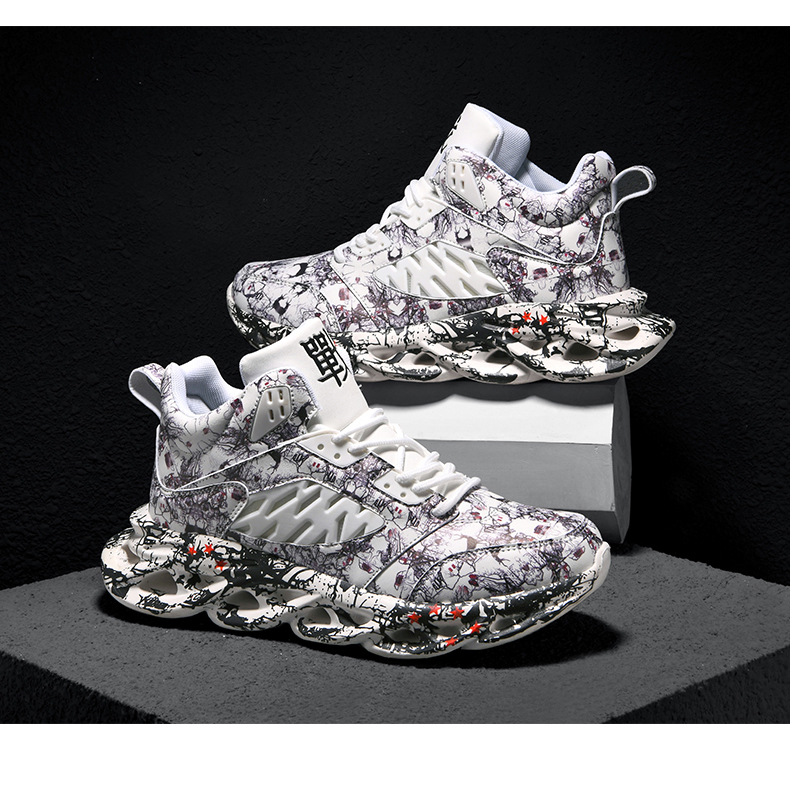 H901ef0a0f7f640239a82ff93d01eae5fO Fashion Men's Hip Hop Street Dance Shoes Graffiti High Top Chunky Sneakers Autumn Summer Casual Mesh Shoes Boys Zapatos Hombre