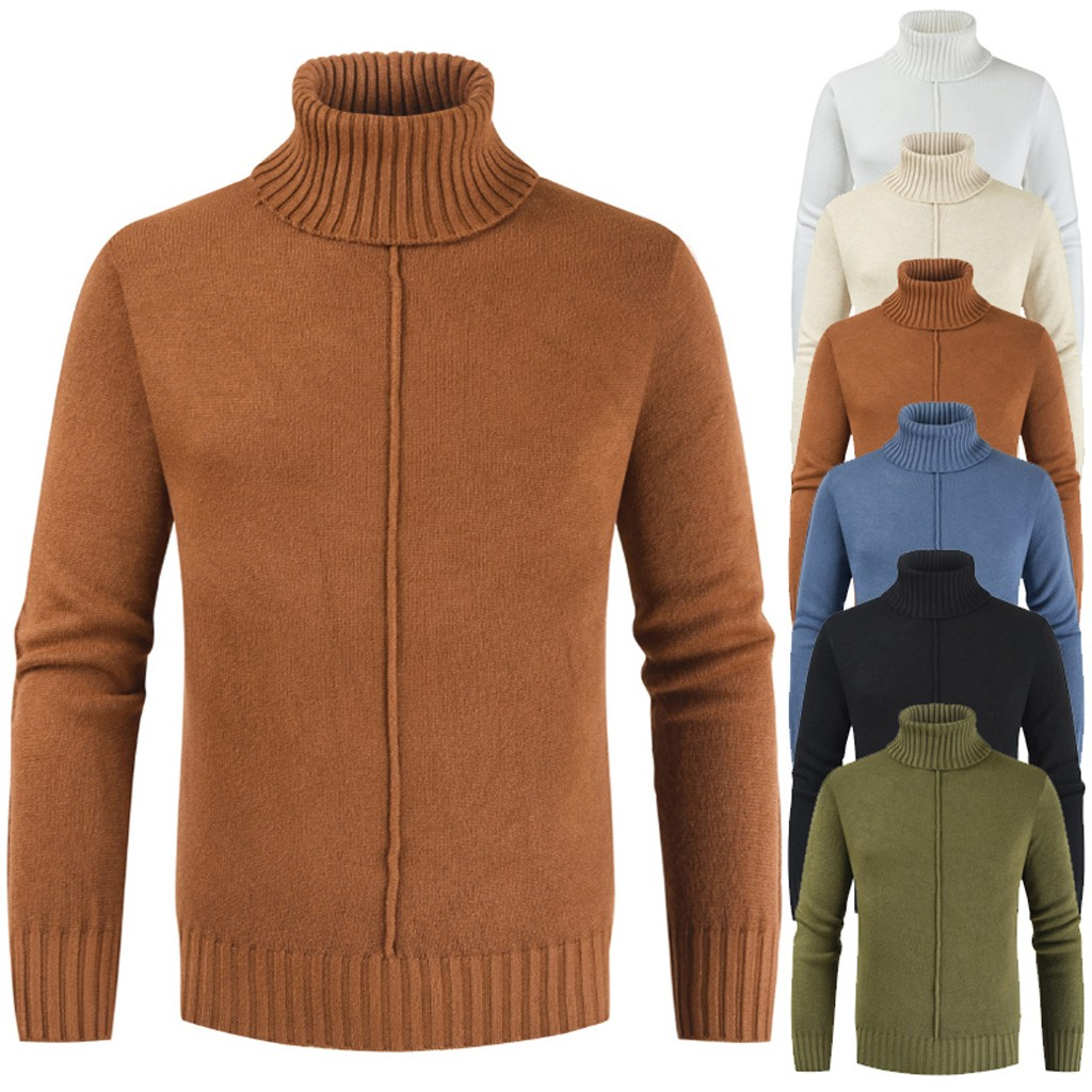 Men's Autumn Winter Casual Pure Color Turtleneck Long Sleeve Knitted Sweater Top High Quality Solid Slim Pullover Male Sweaters