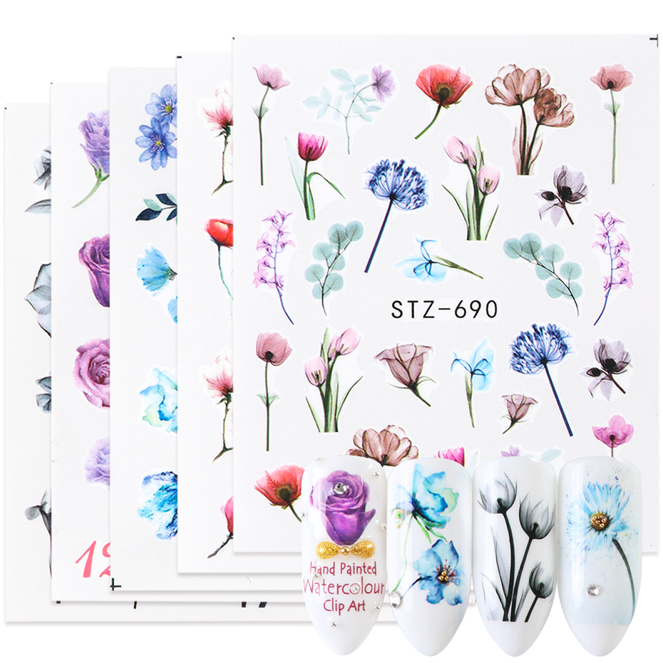 1Pc Water Stickers For Nails Mix Flowers Transfers Sliders Nail Polish Stickers Wraps DIY Nail Art Manicure Decor LASTZ683-706-2