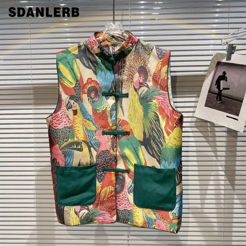 2021 Summer Vest New Chinese Style Pattern Painted Vintage Plate Buckle Contrast Color Top Women Sleeveless Waistcoat