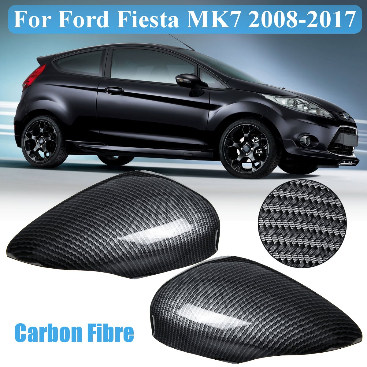 New Right Wing Door Rearview Mirror Cover Cap For Ford Fiesta MK7 2008-2017