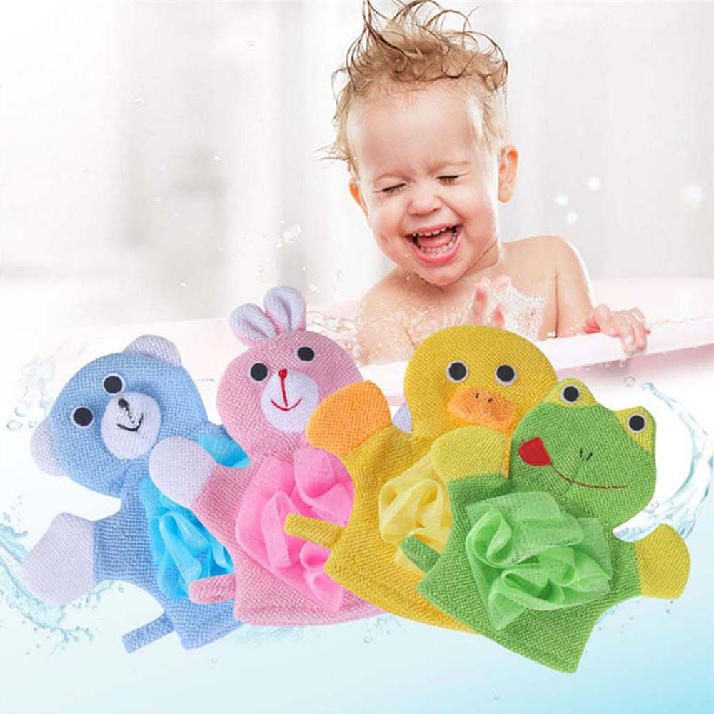 Soft Kids Baby Bath Brushes Towels Cartoon Animal Shape Shower Gloves Washcloth for Bathing Children's Wash Clean Shower Massage