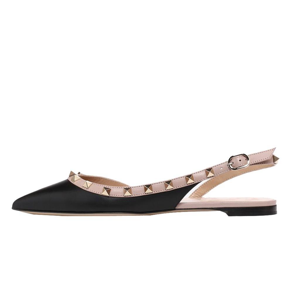 ARQA Women Rivets Stud Mules Pointed Toe Flats Slingback Flat Studded Sandals Dress Shoes
