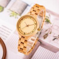 Creative gifts Fashion Women Watches with Rose Gold Diamond Layout Ladies Quartz Natural Wooden Watch Women Wood Reloj Hombre
