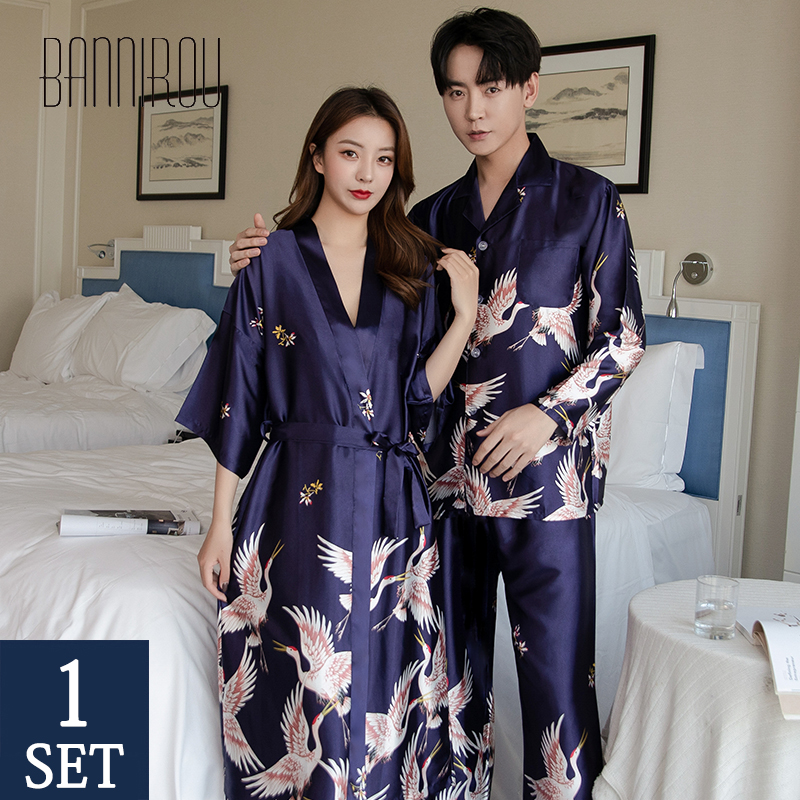 Matching Pajamas Sets Couples Slik Satin Printing Full Button His-and-her Home Pyjama Suits For Lover Man Woman Pajamas New 2020