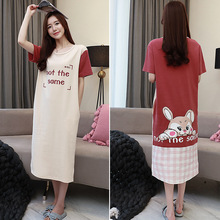 M-3XLTop Quality Cotton Night Dress Women O-Neck Cartoon Letter Print Short Sleeve Nightgown Casual Loose Sleepwear Plus Size casual letter print jewel neck short sleeve tee for women