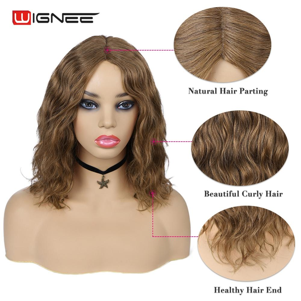 Wignee 12 Inches Natural Wave Short Human Hair Bob Wigs For Black Women 150% High Density Glueless Lace Part Brown 99J Human Wig