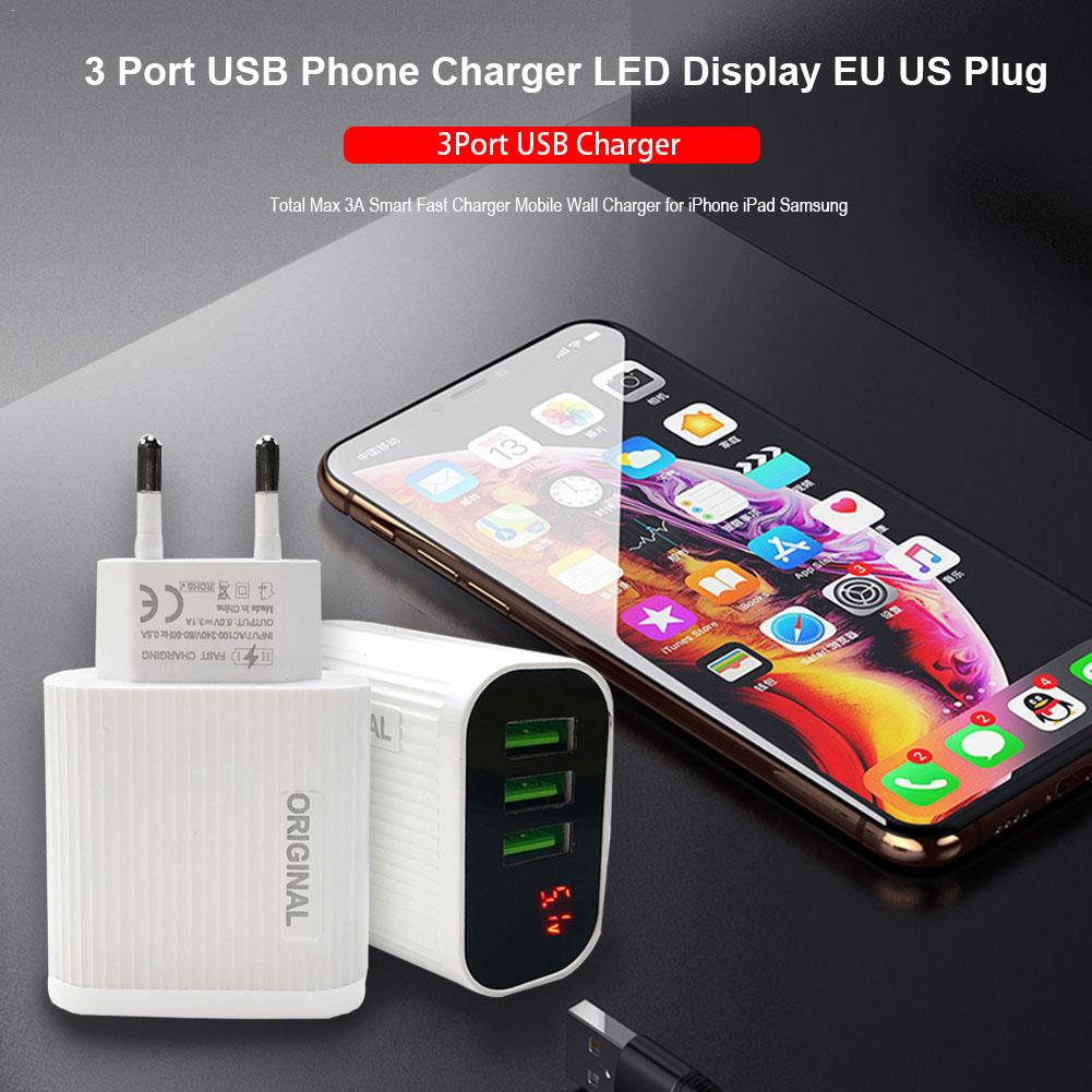 Fast-Charger Mobile-Phone Led-Display Travel Eu/Us-Plug Home USB 3 5V 3-Port