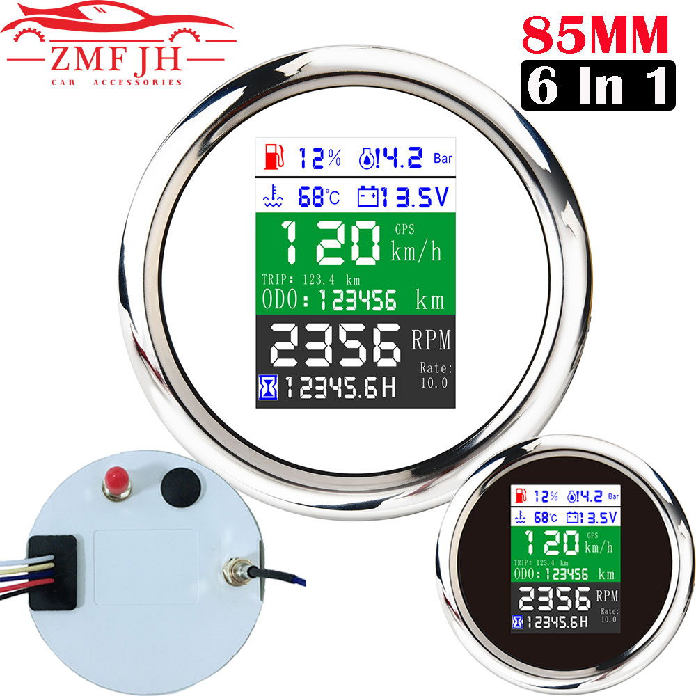 6 IN 1 Digital GPS Speedometer Odometer Tacho Meter Water Temperature Fuel Level Gauge with GPS Antenna for Boat Car Motorcycle
