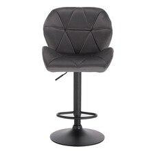 Bar Stool Swivel-Chair Rotating-Lifting-Steel Velvet Height-Adjustable Dining High-Footrest