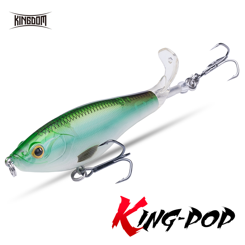 Fishing Kingdom New Whopper Popper Fishing lures 9cm 11cm Hard Baits Soft Rotating Tail Topwater plopper High Quality Floating wobblers