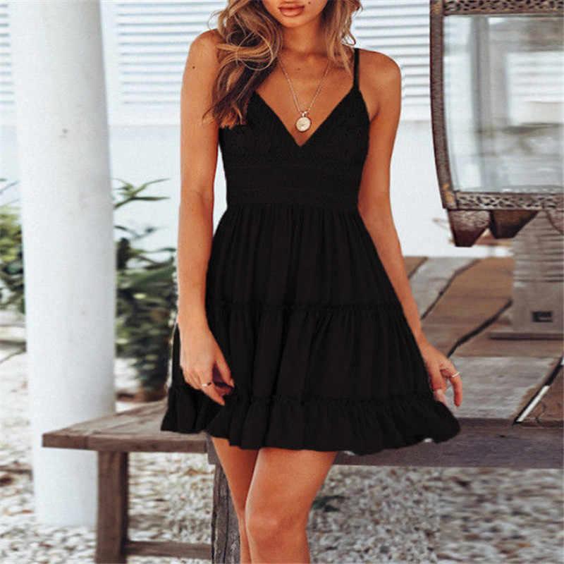 ฤดูร้อนผู้หญิงฤดูร้อนเซ็กซี่Backless V-Neck Mini Beach DressesมินิRuffleสีขาวฤดูร้อนชุดชายหาด
