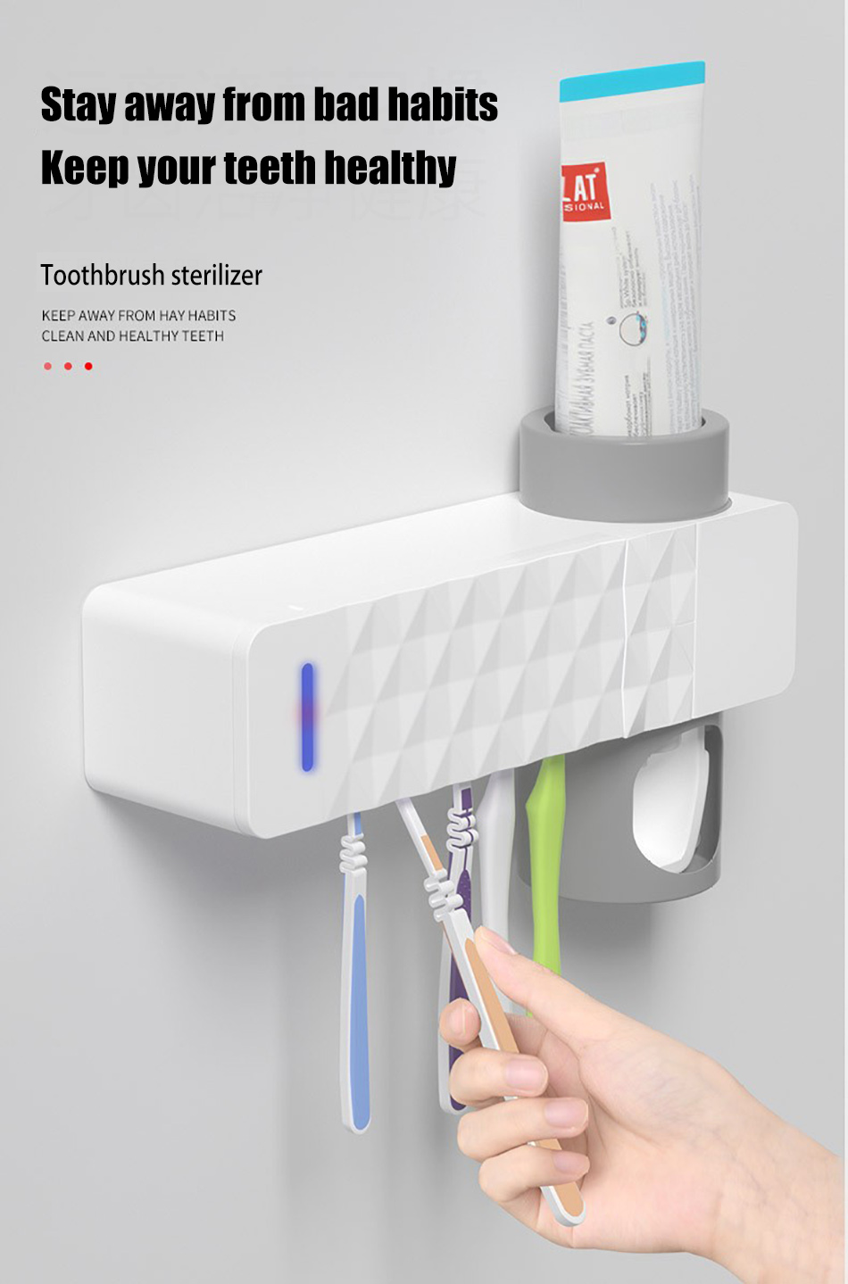 GURET 3 in 1 UV Toothbrush Sanitizer with Automatic Toothpaste Squeezers as Bathroom Accessories 11