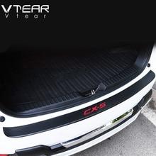 Vtear For Mazda CX-5 CX5 Accessories car Trunk Protection board Rearguards Rear Bumper leather Carbon fiber Stickers 2012-2020