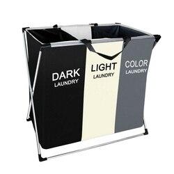 Kosz na pranie składany kosz na bieliznę z 3 sekcja duże brudne ubrania do sortowania