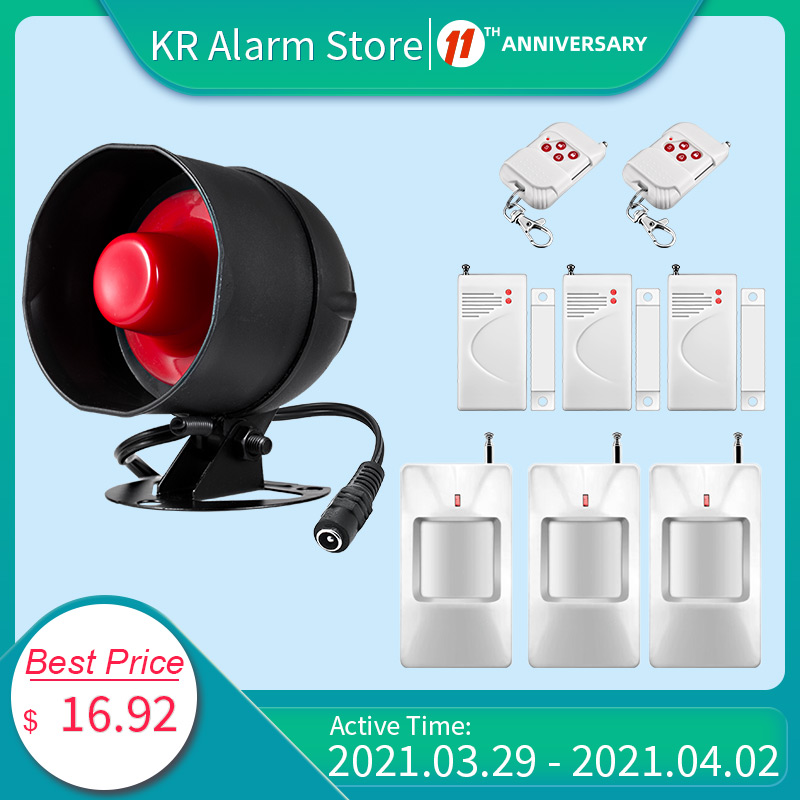 FUERS Alarm Siren Home Security System Wireless Siren Loudly Sound for House Garage 100dB Volume PIR Motion Detector Controller