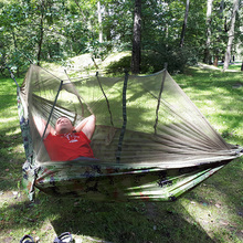 DannyKarl 1-2 Person Camping Hanging Sleeping Bed Outdoor Mosquito Parachute Hammock Double Army Green Hanging Chair Furniture