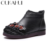OUKAHUI Winter Warm Vintage Genuine Cow Leather Ankle Boots For Women Flat Low Heel Soft Comfortable Spring Ladies Flower Boots
