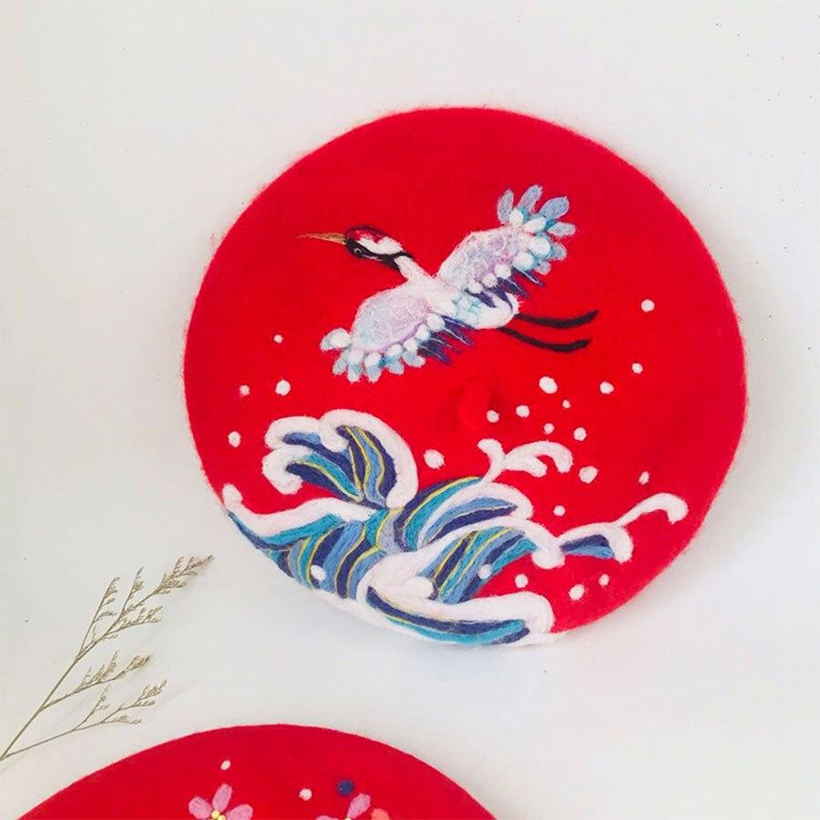 Ретро благоприятный кран шерстяная шапка женские шапки береты на зиму, теплый, для женщин шляпа Корейский ручной работы береты шапки s милый Рождественский подарок на Новый год - 6