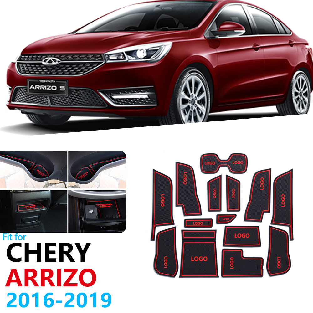 Anti-Slip Rubber Gate Slot Cup Mat For Chery Arrizo 5 2016 2017 2018 2019 Door Groove Mat Car Accessories Stickers Car Styling
