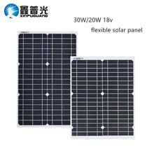 30W 20w 18V panneau solaire 12v Flexible panneaux cellules solaires Module DC pour voiture Yacht lumière Led RV 12v batterie bateau chargeur extérieur