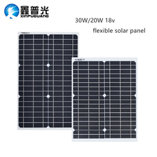 paneles solares para el hogar kit flexibles de 30W 20w 18V módulo de células solares CC para yate de coche, luz Led RV 12v, cargador de barco de batería para exteriores