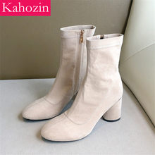 Elastic Cashmere Vamp Ankle boots Autumn Winter Women Short Boots Casual Square Heel Zipper Apricot Lady Nice ShoesLarge Size43(China)